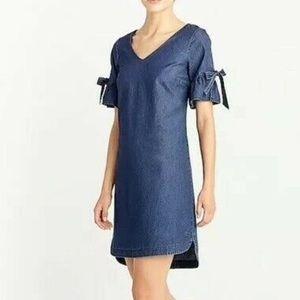 J. CREW Chambray Denim Tie Bell Sleeve Dress